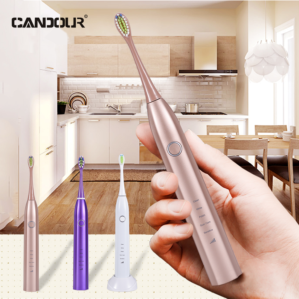CANDOUR CD-5168 Sonic Electric Toothbrush Rechargeable with 16 Replace brush head buy one get one free Sonic Toothbrush 15 Mode image