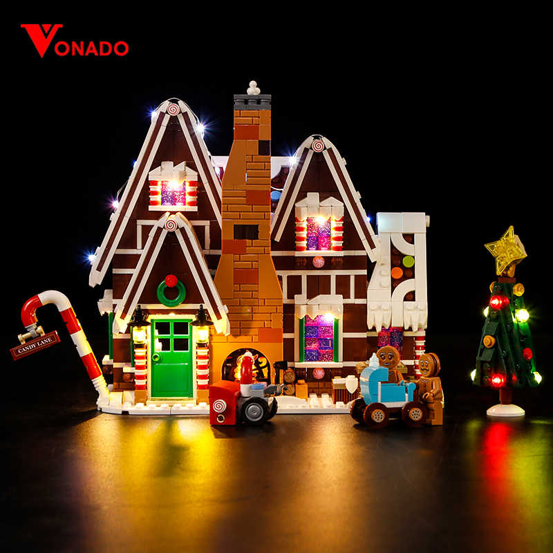 Vonado Christmas Gingerbread House For Legoinglys Winter Village Scene Holiday Girl Friends Building Blocks Figures Toys 10267