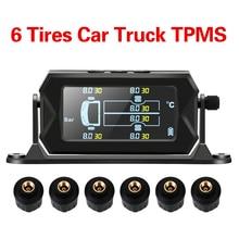 Vrachtwagen Bandenspanningscontrolesysteem Met 6 Externe Sensoren Digitale Lcd Alarm Wireless Solar Auto Rv Tpms