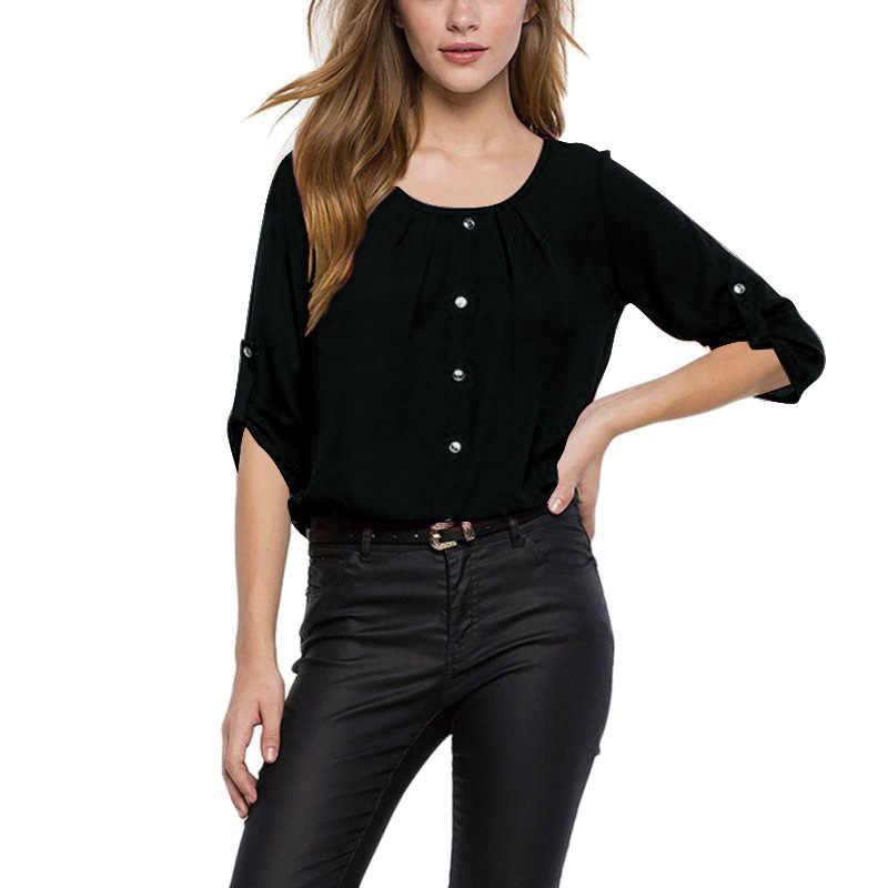 สีทึบผู้หญิงเสื้อและเสื้อ O คอสั้นแขนสั้นเสื้อฤดูร้อนผู้หญิงเสื้อผ้าสำนักงานสวมเสื้อหลวมๆขนาด 5XL