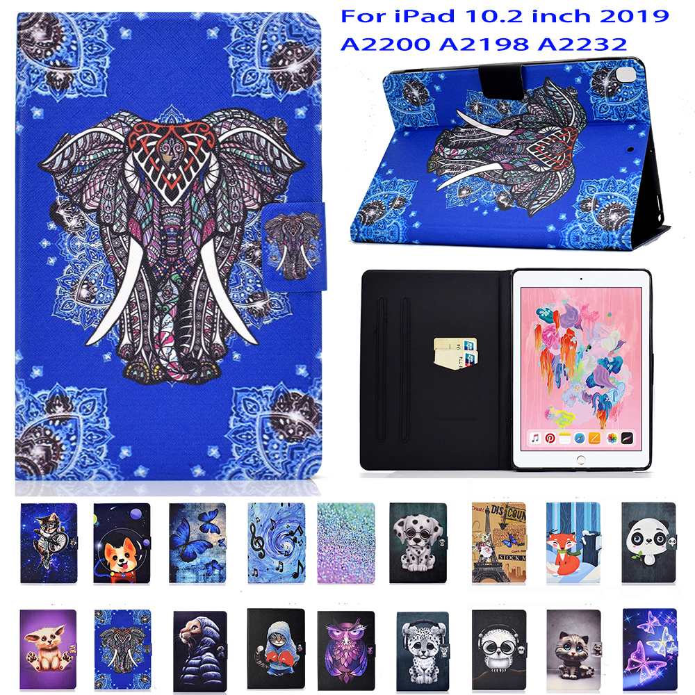 """Stand Flip PU Leather Case For iPad 10.2 Case 2019 A2200 A2198 A2232 10.2"""" Shell Tablet Smart Cover Fundas Coque Skin