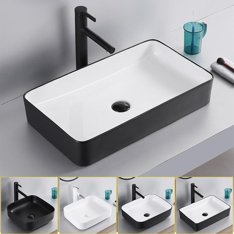 Accessoires de bain bassin d'entrepôt en céramique salle de bains évier blanc au dessus du comptoir bassin avec tuyau de vidange shampooing éviers comptoir - 3