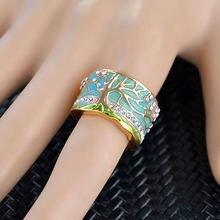 Женское Винтажное кольцо с цветком и деревом золотистого цвета