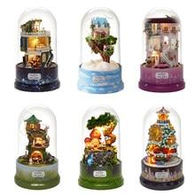 DIY Puppenhaus Drehen Musik Box Miniatur Montieren Kits Puppe Haus Mit Möbel Holz Haus Spielzeug für Kinder Geburtstag Geschenk