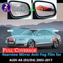 Pełna ochrona telefonu Anti-Fog filmu dla Audi A8 D3 D4 4E 4H S8 A8L 2003 ~ 2017 naklejka na samochodowe lusterko wsteczne, odporny na deszcz, akcesoria foliowe 2010