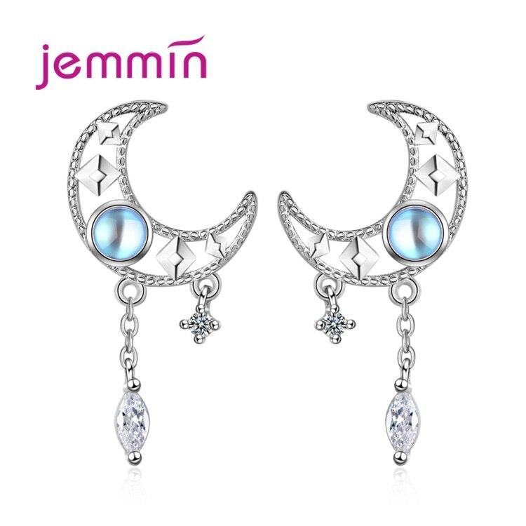925 Sterling Silver Earrings New Fashion Hollow Moonstone Cubic Zircon Tassel Women Wedding Couple Party Jewelry