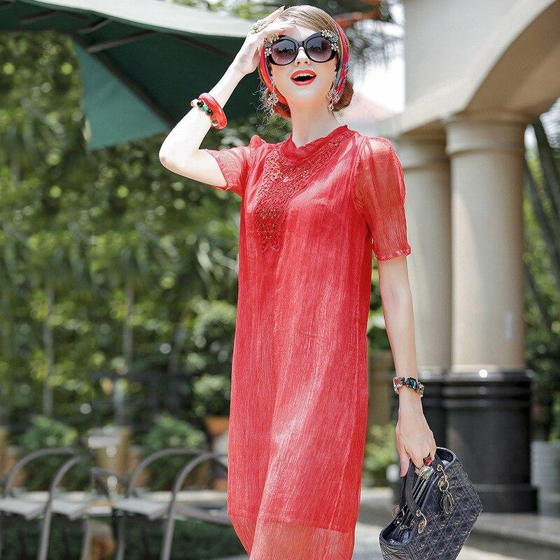 2019 Boutique haut de gamme femmes robe d'été nouvelle robe en soie rouge forage chaud longue dames tempérament robe