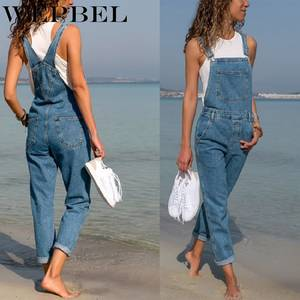 Wepbel High-Waist Jeans Overalls Loose Denim Plus-Size Pants Fashion Street-Style Solid-Color