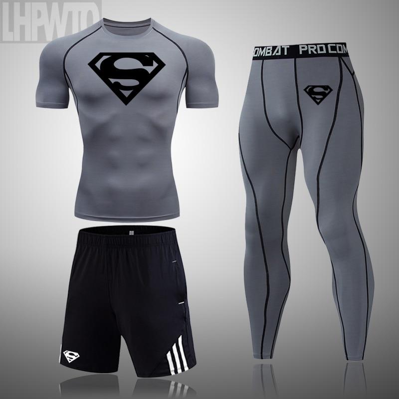 running - Superman 3 Pcs/Sets Men's Short sleeve workout Compression Suit Dri fit Gym Set Elastic Basketb all Wo rkout Running Sportswear