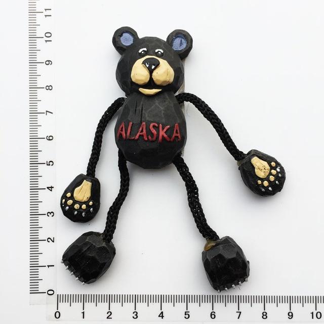 Alaskan Bear 3D Fridge Magnets Souvenir Alaska Magnetic Refrigerator Sticker Craft Resin Cartoon Animal Home Decor Gifts Ideas 4