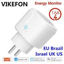 WiFi enchufe inteligente 16A UE Brasil hembra Tuya vida inteligente APP Alexa Google asistente Control de voz Monitor de potencia momento