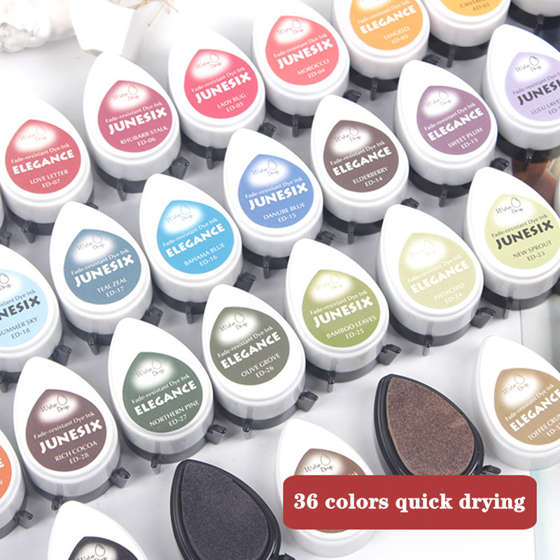 36 color cute DIY rubber stamp water drop hand account quick-drying water-based ink pad portable hand account printing table