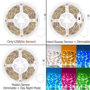 Ручная развертка Сенсор Светодиодные ленты светильник движения Сенсор переключатель USB DC 5V SMD 2835 Светодиодный светильник полосы ТВ Подсветка светильник Кухня номер ночной Светильник Светодиодные ленты      АлиЭкспресс
