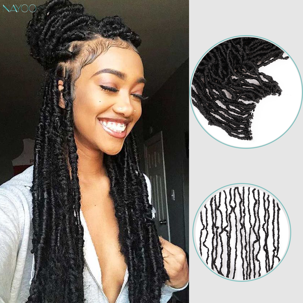 Nu Locs 18inch Goddess Faux Locs Women's Wigs Curly Crochet Braids Hair Weave Synthetic Braid Hair Exntension For Women