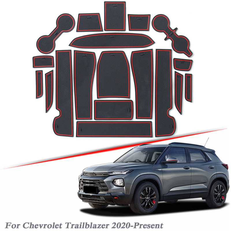 19pcs Car Styling Gate slot pad For Chevrolet Trailblazer 2020-Present Silica Gel Door Groove Mat interior Non-slip dust Mat