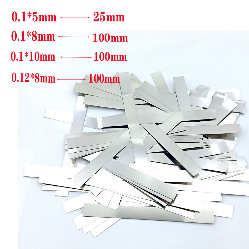 Pure Nickel Strip Soldering Tab 0.1 X 5mm 0.1 X 8mm 0.1 X 10mm 0.12 X 8mm / 100 Mm For Lithium Battery Welding Ni200 100g