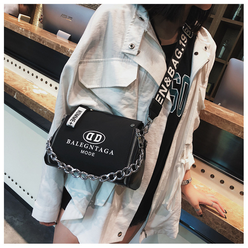 Women Handbags Letter Bucket Messenger-Bag Scrub Leather Chains-Design New-Fashion Wide-Strap