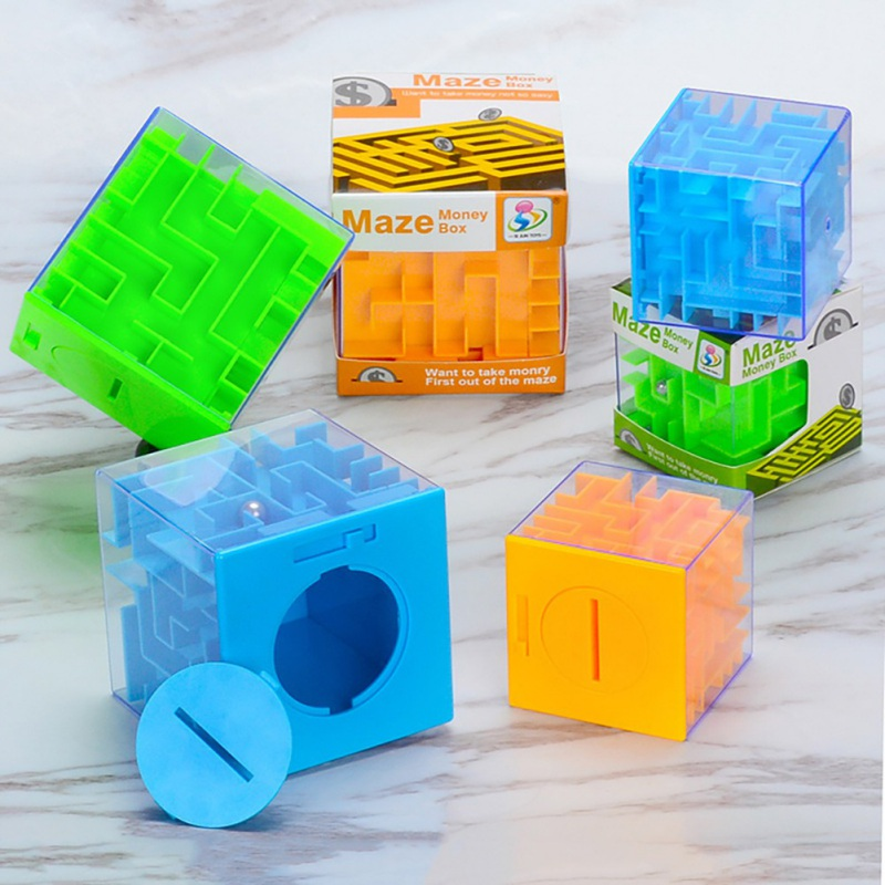 3D Maze Puzzle Saving Box Six Sided Clear Piggy Bank Coin Cash Storage Holder Boxes Intelligent Decompression Toy Gift