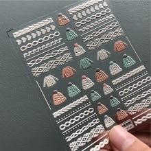 3d tricotar unhas decalque camisola de malha gravado adesivo rosa borboleta asa pena etiqueta do prego em relevo arte do prego adesivo decalques