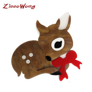 Ziccowong Deer Brooch Pins Collar Clothing Acrylic Girls Cute Badge Gift Chirstmas Women