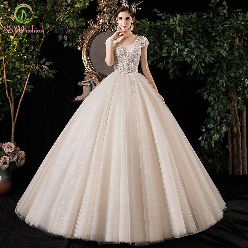 SSYFashion, новое роскошное свадебное платье для невесты, цвета слоновой кости, блестящая мечта, с блестками, длина до пола, ТРАПЕЦИЕВИДНОЕ сваде