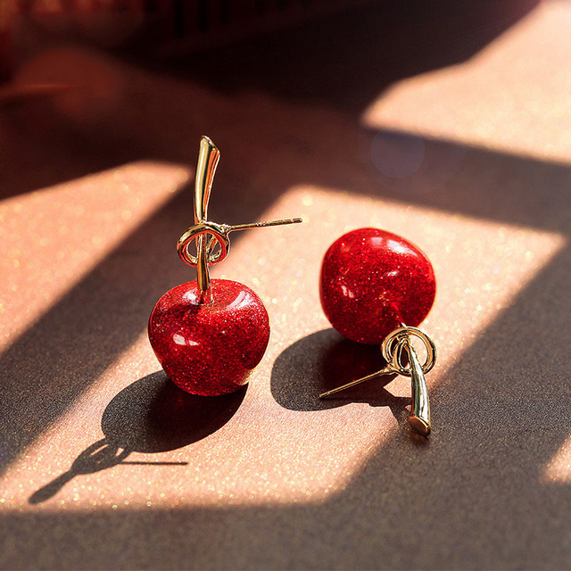 Fashion women Japanese soft sister sequins flashing red cherry earrings Sweet female joker golden cherry eardrop.jpg 640x640 - Fashion women Japanese soft sister sequins flashing red cherry earrings Sweet female joker golden cherry eardrop knot earrings