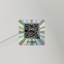 25x25mm 1000pcs Holographic QR Code Sticker, One-Time Tamper Evident, Authentic  Laser Security Label, Unique number,Customized
