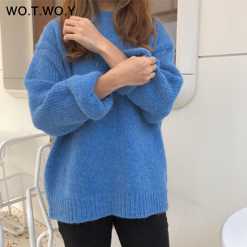 WOTWOY Autumn Winter Basic Knitted Sweater Women Casual O-neck Long Sleeve Women Loose Thick Sweater Pullovers Korean Tops Women