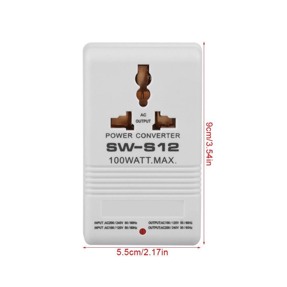 SW-S12 100 Вт 110 В/120 В до 220 В/240 В повышающий преобразователь напряжения трансформатор путешествия Двухканальный преобразователь мощности