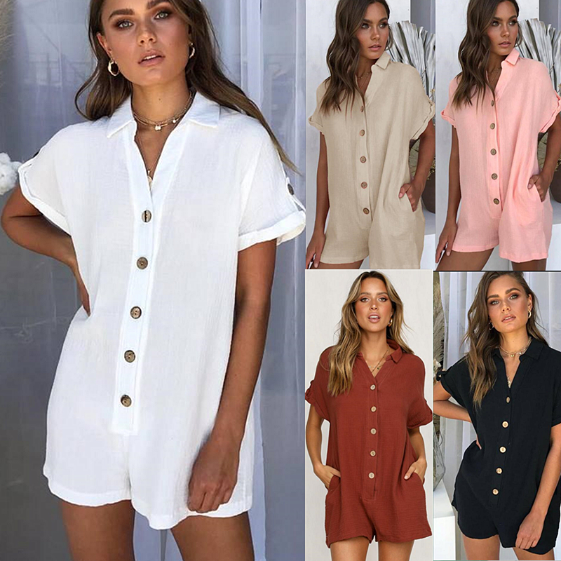 Fashion Women's Summer Solid Color Lapel Shirt Button Jumpsuit Short-sleeved Blended Low Waist Bohemian Lady Straight Hot Pants