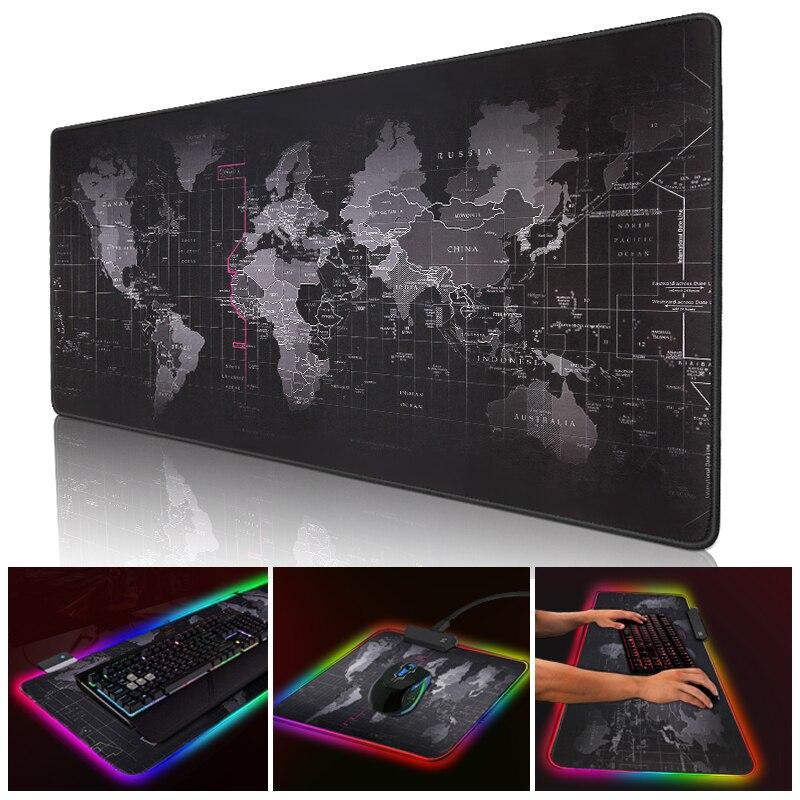 Tapete do rato do jogo rgb grande mouse pad gamer tapete grande mouse mousepad computador retroiluminação led xxl superfície mause almofada teclado