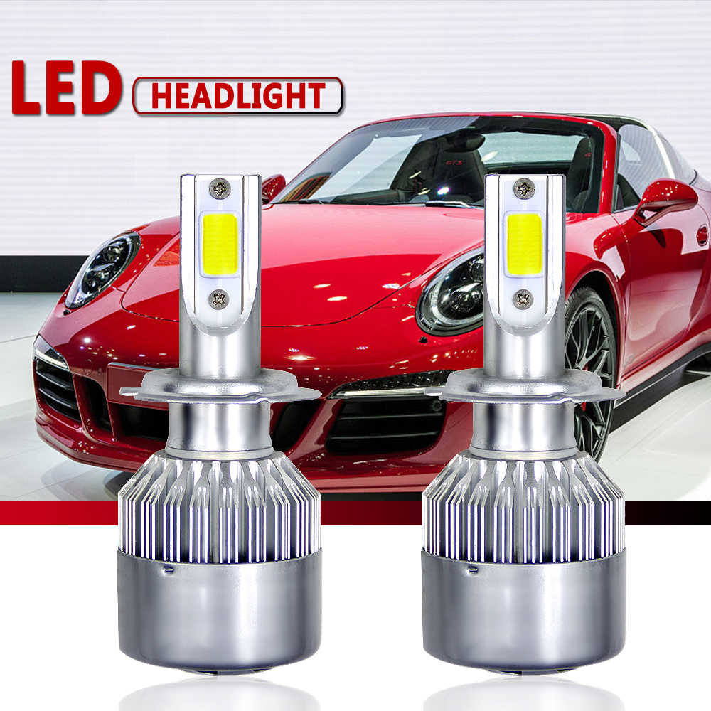 6000K 2x55W C6 Car Headlight 12V 24V H3 H7 H1 9006 H13 H4 H11 head lamp Led Bulbs Super Bright White Cool Turbo Fan Car Light