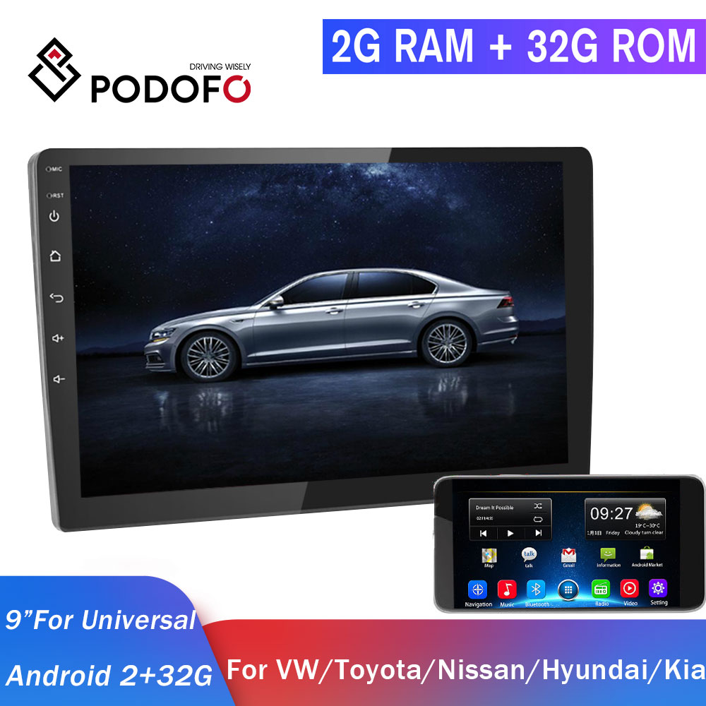 Podofo 2din Car Radio Android Car Multimedia Player 2+32G GPS 2 DIN Autoradio For Volkswagen Seat Nissan Hyundai Toyota CR-V Kia