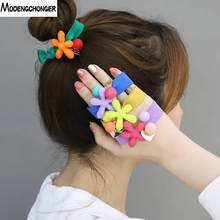 New Simple Hair Ring Jelly Color Candy Flower Rubber Band High Elastic Rope Scrunchies Sweet Hairgrip Accessories