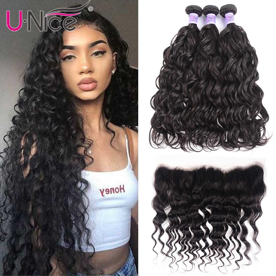 "UNice Hair 8A Kysiss Series Peruvian Natural Wave 3 Bundles With Frontal 13*4 Closure Human Hair Weave 4 Bundles 8-26"""