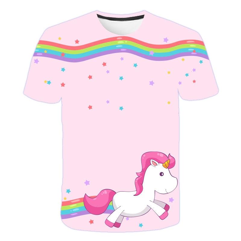 Baby Girls T-shirt 4 5 6 7 8 9 10 11 12 13 14 Years Unicorn Kids T Shirt Children Clothes Summer Unicorn T shirts Girl Tops Tee 2