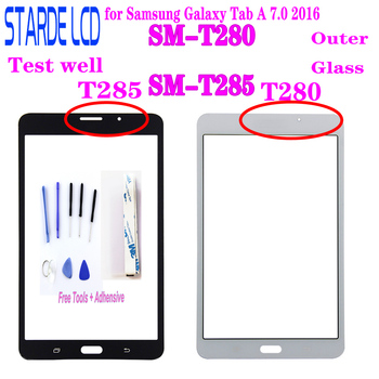 New 7 for Samsung Galaxy Tab A 7.0 2016 SM-T280 SM-T285 T280 T285 Outer Glass Panel Lens Parts Replacement ( Not Touch Screen ) for samsung galaxy tab a 7 0 t280 sm t280 t280n t285 high quality ultra slim silk 3 fold transparent cover stand pu leather case