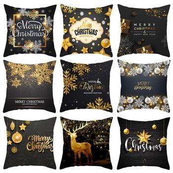 1PCS 45cm Black Gold Christmas Decorations Pillow Covers Home Sofa Bedroom Decor Cushion Pillow Cases Retro elk Cushion Cover linen seat cushion merry christmas pillow cover
