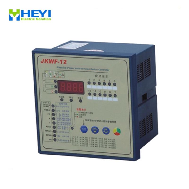 Contrôleur de correction de facteur de puissance de phase divisée de JKWF-12 contrôleur de compensation automatique de puissance réactive d'affichage à cristaux liquides de 12 étapes