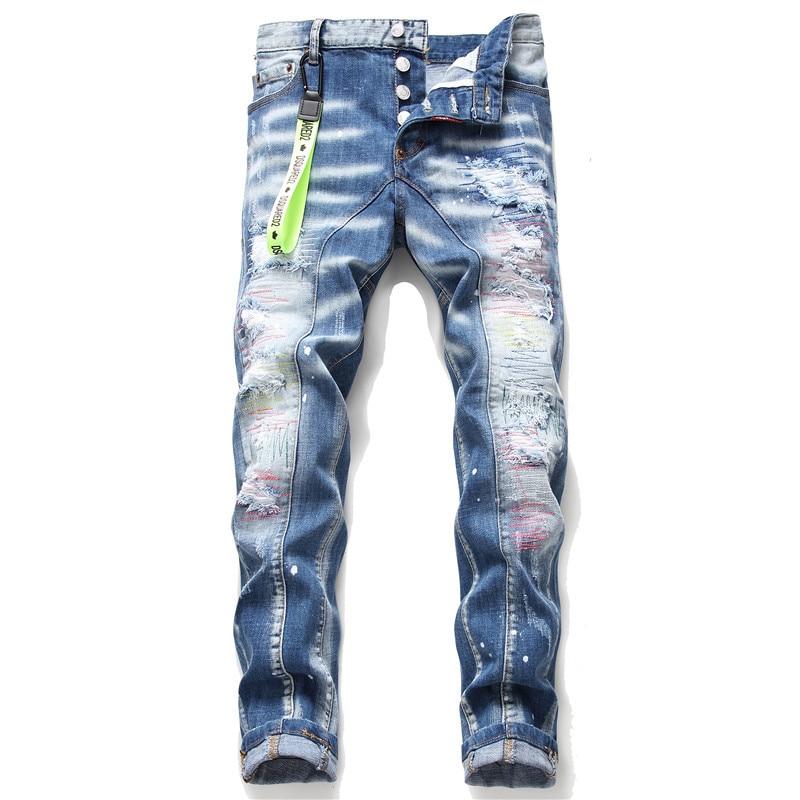 European Italy Style jeans Famous brand Men slim jeans pants mens denim trousers zipper blue hole Pencil Pants jeans 1047#
