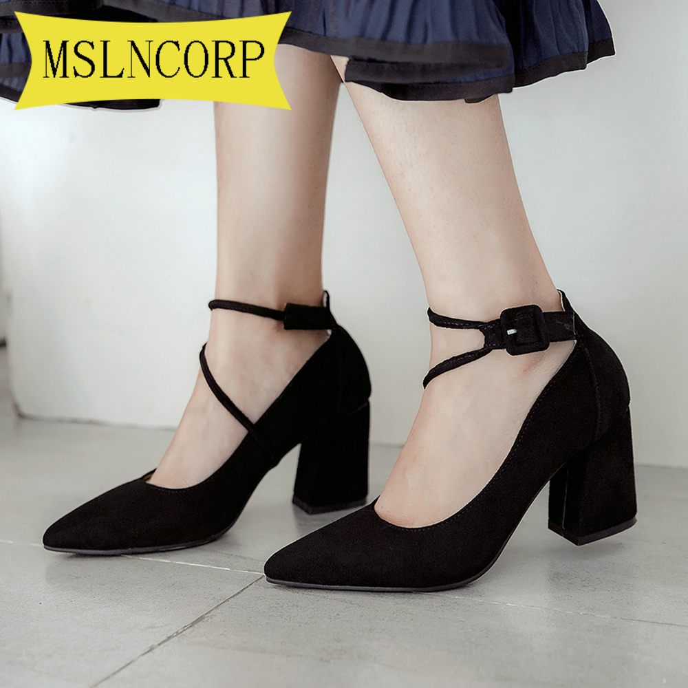Plus Size 34-46 Women's Pumps Shoes High Heel Flock Buckle Pointed Toe Spring Autumn Sexy New Fashion Casual Wedding Party Black