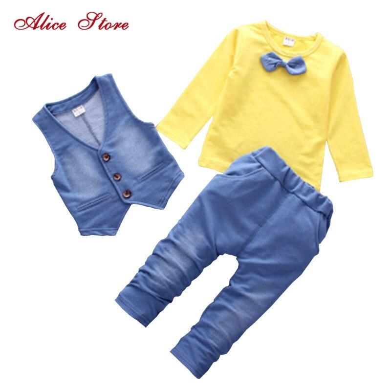 1-6T Boys Suits Children Rockets Tee+Bowtie Plaid Shirt+Jeans Clothes 3Pcs Set
