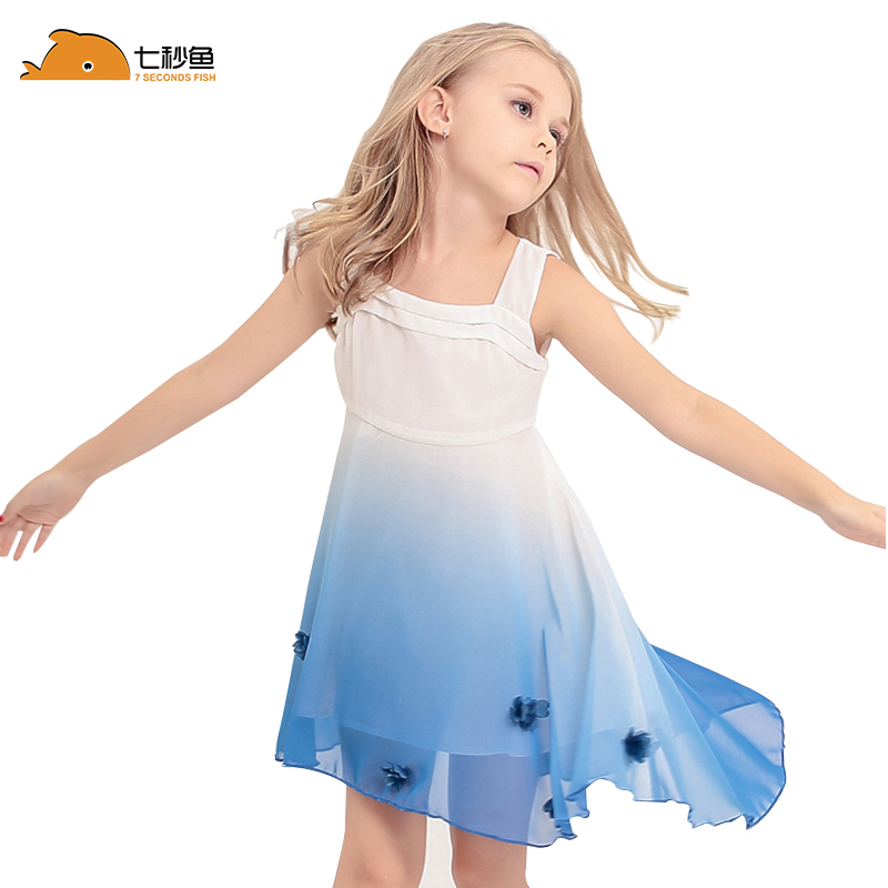 Girl Summer Dress 2020 Chiffon Gradiente Blue Princess Dress  Children Clothes Party Dresses
