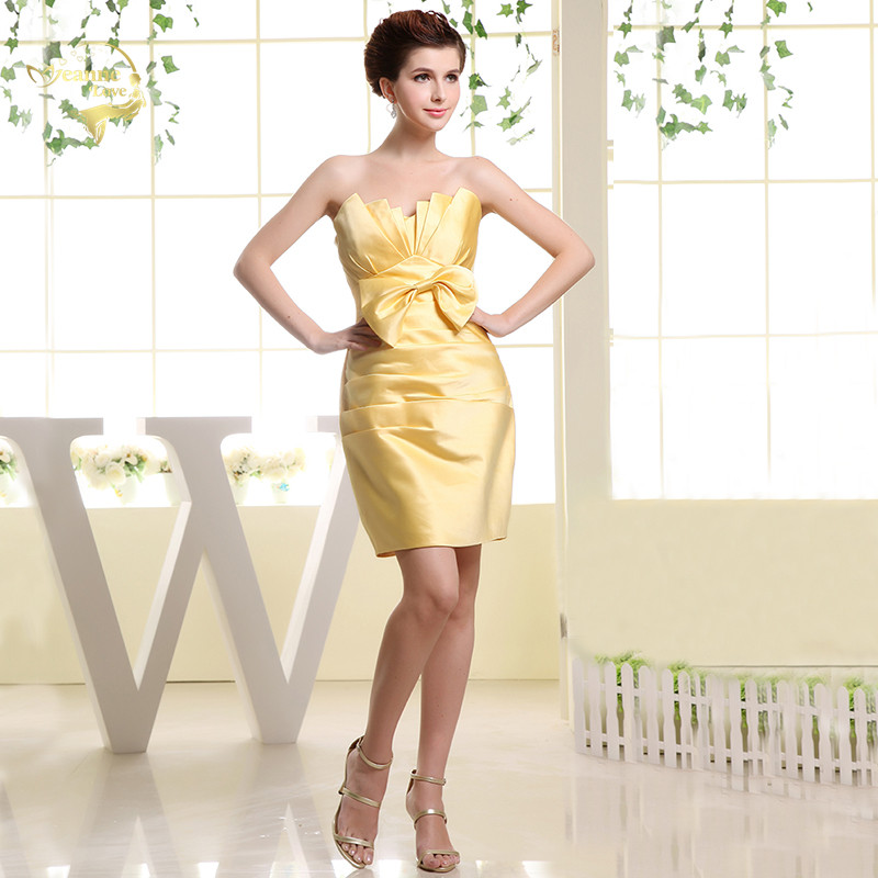 Yellow Satin Short Cocktail Dresses Mini With Bow Vestidos Elegantes Formal Dress Women Elegant Graduation Dresses Prom Gowns