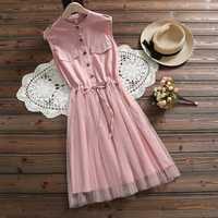 Ceinture taille sans manches dentelle bleu robes femmes robe d'été 2019 nouveau décontracté coton maille rose élégant vestidos vêtements 3518 50