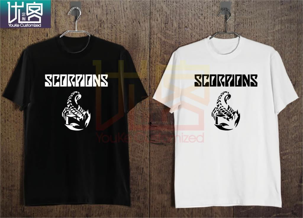 New SCORPIONS Logo Hard Rock Band Legend Men's T-Shirt Black and White image