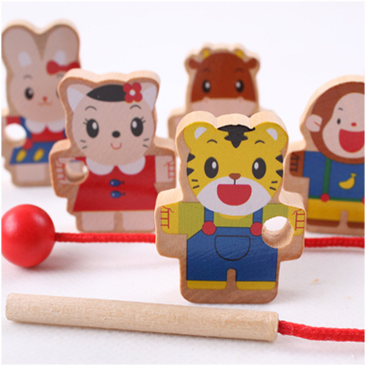 Early Education Q Xiaohu Mini Bead Toy Wooden Cartoon Figure Beaded Bracelet Game Children'S Educational 0.05