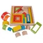 32 pièces enfants en bois arc en ciel blocs empilables jouets éducatifs Montessori - 3