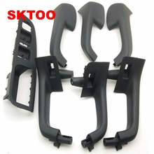 7PCS Black Interior Handle Door Grab window switch Bezel cover For VW Volkswagen Golf 5 GTi MK5 Jetta inner armrest 1K0 868 040B