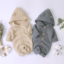 Cartoon Bear Knitted Baby Girls Rompers Clothes Solid Color Newborn Boys Jumpsuits Costumes Autumn Hoody Long Sleeve Toddler Top baby cartoon giraffe elephant print rompers cute infant newborn boys girls long sleeve clothes soft jumpsuits toddler costumes